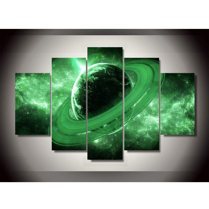 Promotion Canvas Painting Unframed 5 Piece Large HD Outer Space For Living Room Wall Picture Decoration Home With Free Shipping(China (Mainland))