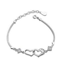 AAA 100% Sterling Silver 925 Jewelry Heart-shaped Bracelet Amethyst Bracelet Fine Jewelry Free Shipping(China (Mainland))