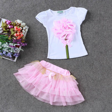 2016 new girls suit (princess dress + T-shirt) 2 PC sets, layered tutu skirt 2 clothing sets Summer girls fashion skirt suits(China (Mainland))
