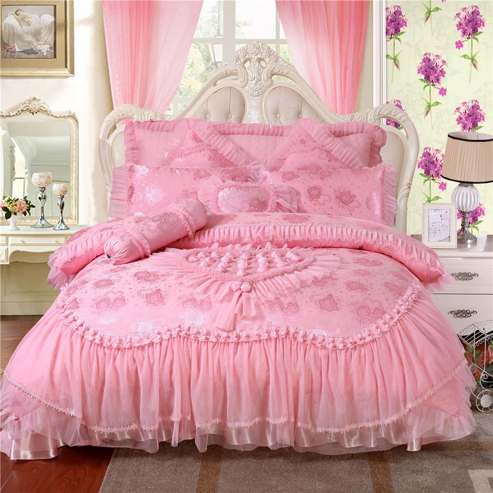 9 шт/комплект Сатин жаккард розовый вышитые кружева свадебные комплекты постельных принадлежностей,роскошный Шелковый Пододеяльник,постельное белье,простыня,housse де cuette
