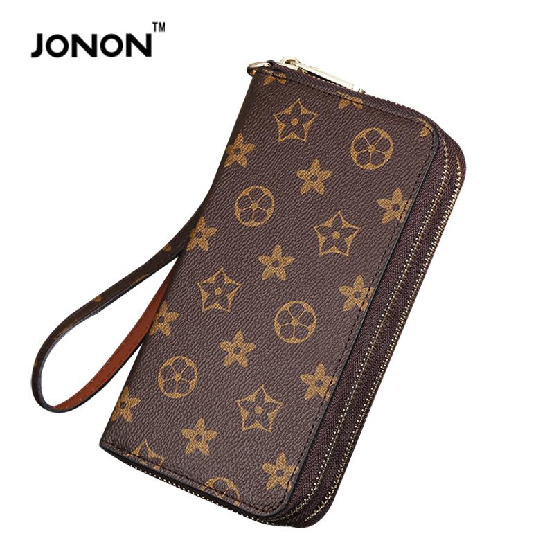 2016 Famous Jonon Brand Women Double Zipper PU Leather Long Wallet Ladies Men Brand Purses Clutch Monogram(China (Mainland))