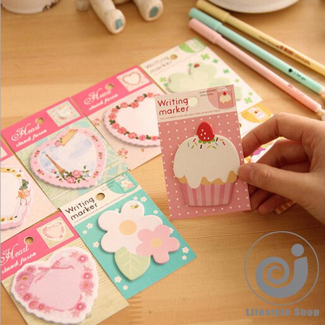 4 шт./лот каваи цветок сердца memo pad бумаги заметки разместить его блокнот papeleria канцелярские школьные принадлежности