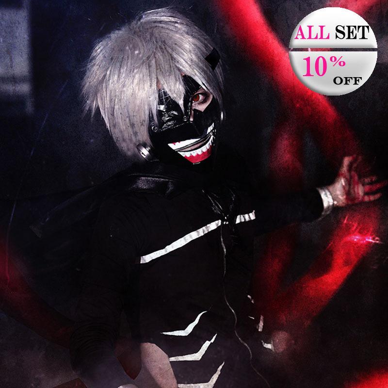 Free shipping Kaneki Ken cosplay costume kit black battle suit for anime Tokyo Ghouls  Halloween eyepatch maskОдежда и ак�е��уары<br><br><br>Aliexpress