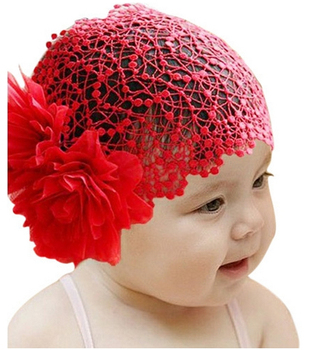 Newborn Baby Toddler Girls Headband Hat Beanie Flower Hair Band Lace Elastic New Hair Accessories TF003 Free Shipping