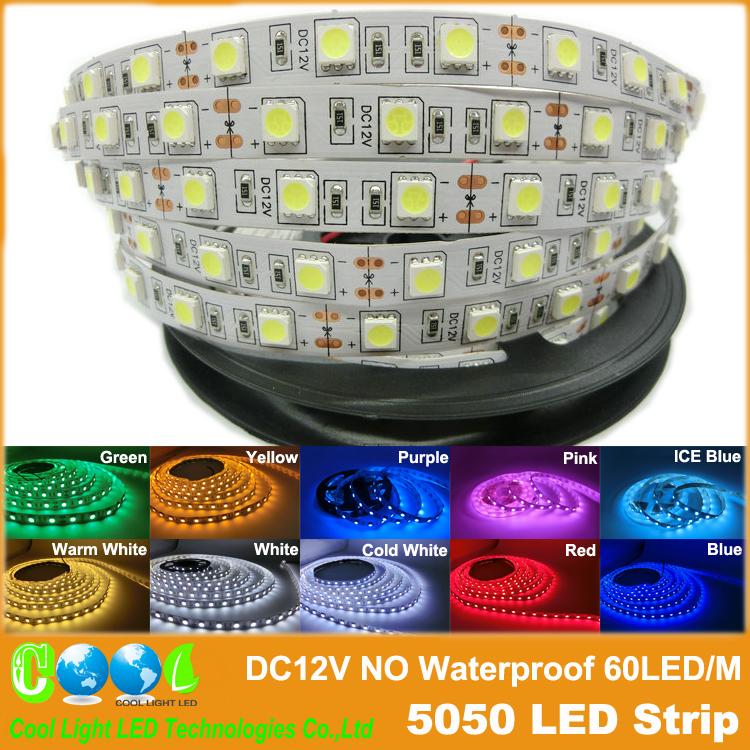 Из светодиодов полосы 5050 DC12V гибкий свет 60LED / м 5 м/лот, RGB / розовый / / фиолетовый / голубой лед 5050 из светодиодов полосы