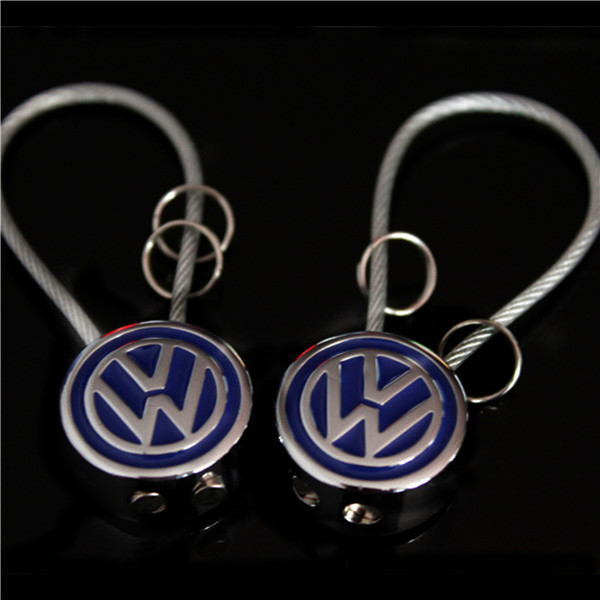 Metal Steel Wire VOLKSWAGEN Car Keychain Keyring For VW Auto Key Chain Ring YOWO<br><br>Aliexpress