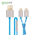 Lenuo 85cm Dual Micro 2 IN 1 USB Zipper Design USB 2 0 Charge Data Cable