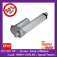 50% Discount ! 4inch/ 100mm linear actuators, 1000N/ 225LBS Max Load 24v/ 12v linear actuator(China (Mainland))