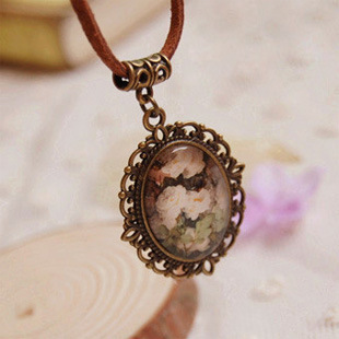 F11556 Korean Style Summer Flowers Glass Stone Pendant Sweater Necklace With Leather Imitation Chain For Women Gift(China (Mainland))