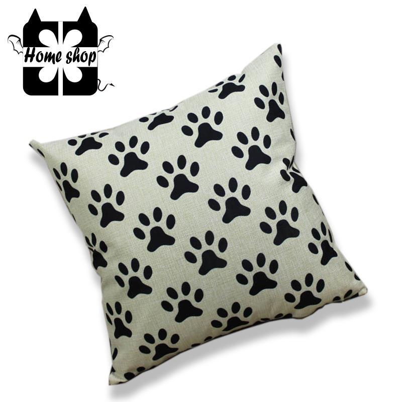 HOME SHOP Home Decor Throw pillow cases Dog footprints Print Car sofa Linen Cushion Cover 45 ...