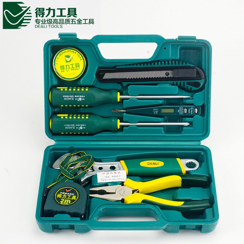 Most Popular DL1009G 9pcs DELI Household multifuncional repair tool set Different Quality Practical(China (Mainland))