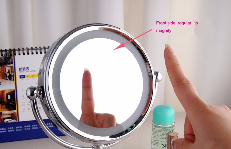 "6"" bathroom LED mirror desk makeup illuminator for cosmetic and shaving magnifying function bathroom accessories"