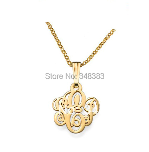 New gold filled initials necklace handmade small pendant monogram nameplate necklace silver monogrammed necklaces unique gift(China (Mainland))