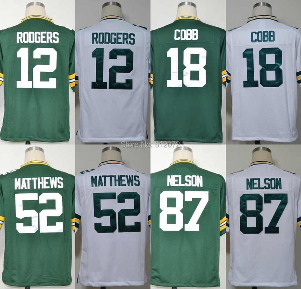 Green Bay Men's Authentic Game #12 Aaron Rodgers #18 Randall Cobb #52 Clay Matthews #87 Jordy Nelson Football Jersey(China (Mainland))