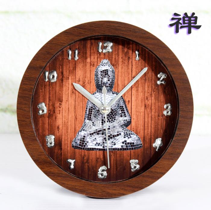 Zen enlightenment Putuo 3D stereoscopic world clock table clock creative arts imitation wood desk clock lazy clock free shipping(China (Mainland))