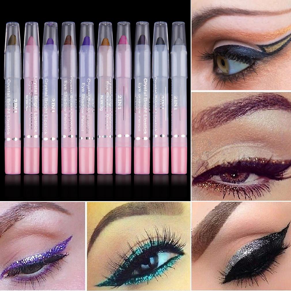 Women 20 Colors 11.5cm Eye Make Up Eyeliner Pencil Waterproof Eyebrow Beauty Pen Eye Liner 2IN1 Lip sticks Cosmetics Eyes Makeup