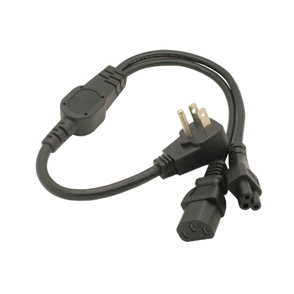 2 in 1 Multi function Power Cord USA US flat plug to IEC 320 C5 C13