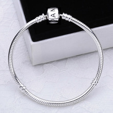 Authentic 925 sterling silver hand chain stamp S925 original logo charms beads fit Pandora bracelet for women pulsera jewelry(China (Mainland))