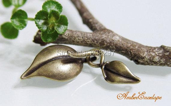 50Set Antiqued Brass Leaf Hook & Eye ClaspJewelry Finding