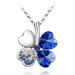 Fashion Austria Crystal Sweet style half rhinestone crystal clover Pendant Necklace 090 - Jinghong Jewelry store