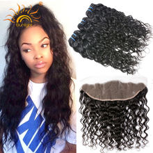 Ear to Ear Lace Frontal Closure With Bundles Peruvian Virgin Hair Water Wave With Closure Cheap Human Hair Weft With Closure(China (Mainland))