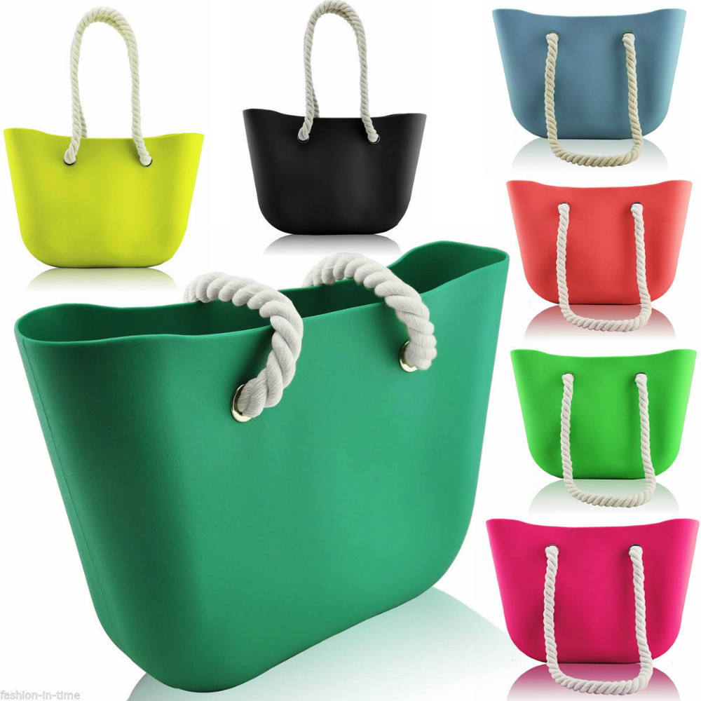 2015 waterproof soft portable women silicone rubber bag candy casual tote handbag no zipper shopping silicon shoulder bag(China (Mainland))