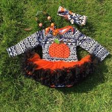 halloween baby romper black pumpkin aztec baby rompers tutu dress long-sleeve girls 100% cotton baby jump suits(China (Mainland))