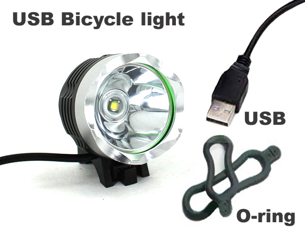 USB Bicycle light CREE XM-L T6 2000LM 5V USB LED Bike Bicycle Light 3 Modes With 2*Orings(China (Mainland))