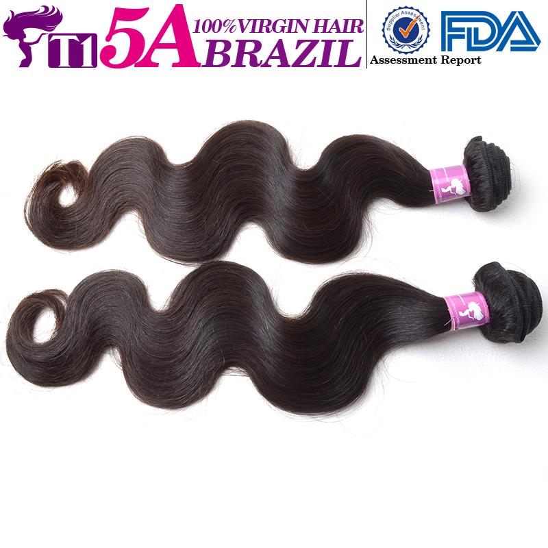 T1 5A 2Pcs/Lot Brazilian Virgin Hair Body Wave Finest quality premium Full Cuticle 100% Brazilian Human Hair Natural hair(China (Mainland))