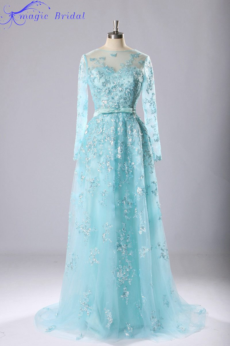 Buy vestido de baile sexy light blue lace for Light blue lace wedding dress
