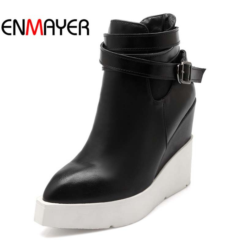 ENMAYER Platform Shoes Wedges Pointed Toe Buckle Ankle Boots For Women New PU Fashion High Winter motorcycle boots For Women  <br><br>Aliexpress