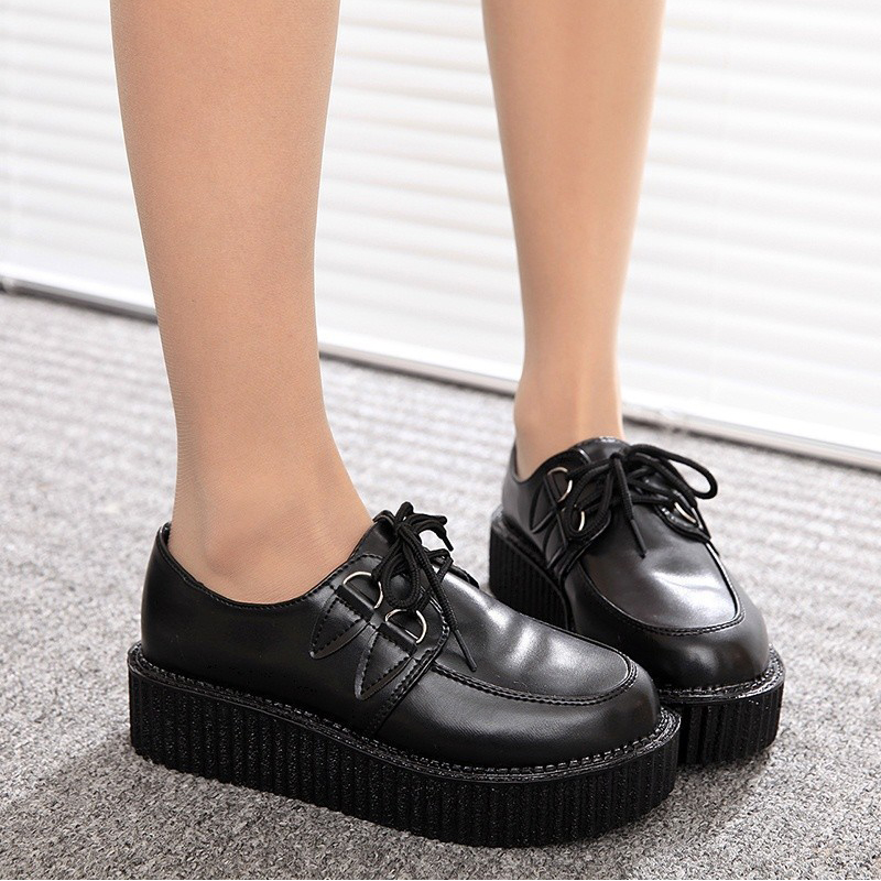 Creepers platform shoes women harajuku style casual printed vintage shoes for women flat plat platform shoes creepers shoes