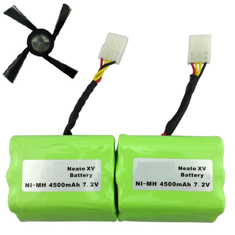 2 pcs 7.2v 4500mAh battery pack +sidebrush for Neato XV-21 XV-11 XV-14 XV-15 robot vacuum cleaner parts neato xv battery(China (Mainland))