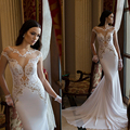 2015 Sexy New Sheer Lace Long Sleeves Backless Mermaid Wedding Dresses See Through Long Cathedral Train