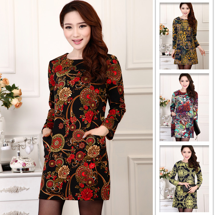 2015 new arrival spring autumn Winter women fashion plus size Europe and America style slim vintage print casual dress(China (Mainland))
