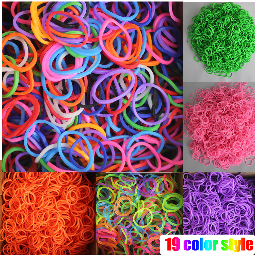 Factory HOT loom bands 600 opp 19 color loom bands Kits DIY looming Girls Bands Colorful Children Handmade Rubber Band Bracelet(China (Mainland))