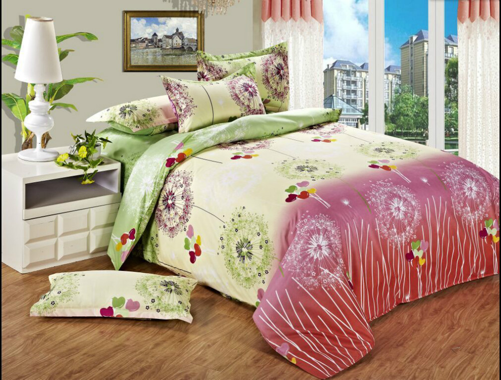 twin full queen beautiful cheap bedding pink green white dandelion colorful balloon 3 4pcs. Black Bedroom Furniture Sets. Home Design Ideas
