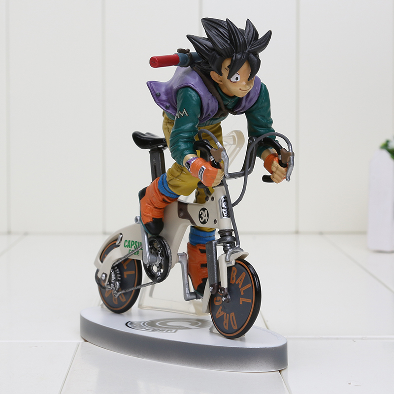 New Boxed Anime Sun Gokou Riding Bicycle Desktop Real McCOY Series 02 Action Figure Dragon Ball Z Collectible Toy(China (Mainland))