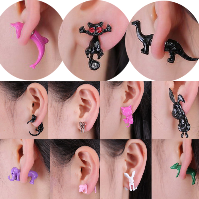 New Fashion 12 styles 3D lovely dog Dolphin Zebra Elephant Rabbit Animals stud earring for women girl cute polymer clay jewelry(China (Mainland))