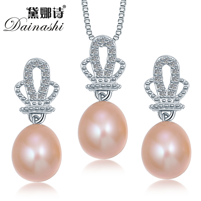 2015 Fashion Crown Natural Pearl Pendant Earrings 925 Sterling Silver Jewellery Sets Zircon Synthetic imitation diamonds Jewelry(China (Mainland))