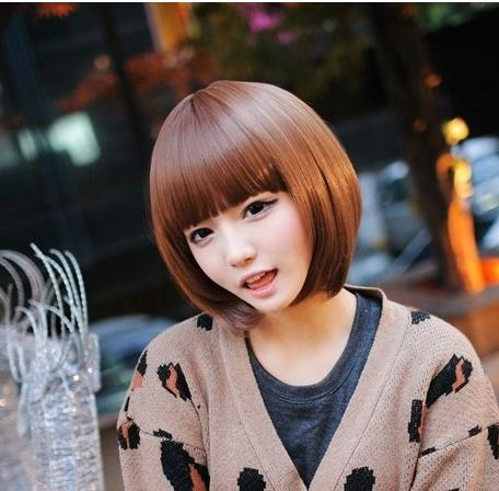 New Stylish Light Brown Short Straight Lady's Fashion Sexy Party Bobo Synthetic Hair Wig for girl peluca feminina peruca(China (Mainland))