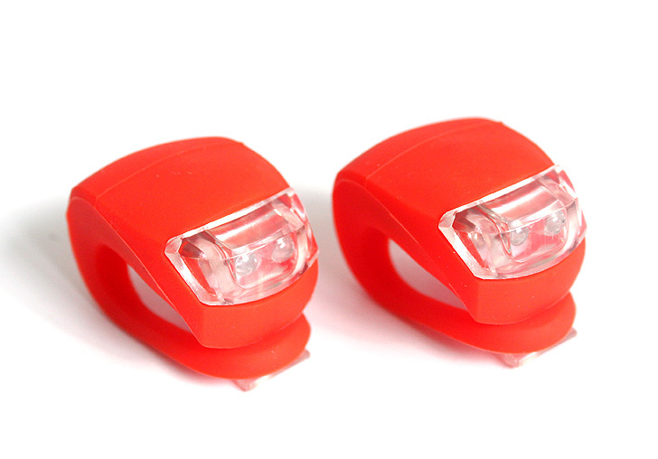 Cycling Bike Bicycle Red/Blue/Black Silicone 5 LED Super Front Light - compass sourcing co.,ltd. store