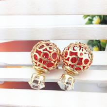 2 pair 6% discount !korean aros double pearl Rhinestone fine jewelry earrings for women earrings Crystal gold stud earrings E698(China (Mainland))