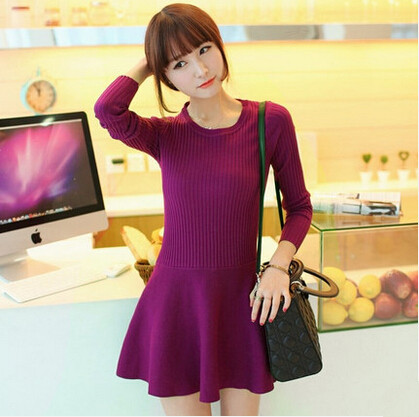Women Winter Dresses Solid Color Long Sleeve Sweet Princess Knitwear Bottoming Female Sweater Dress Red Black Clothes JX533(China (Mainland))