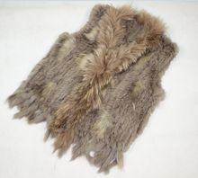 New Real ladies Genuine Knitted Rabbit Fur Vest With Raccoon Fur Trimming Waistcoat Winter Fur Jacket eastern fur(China (Mainland))