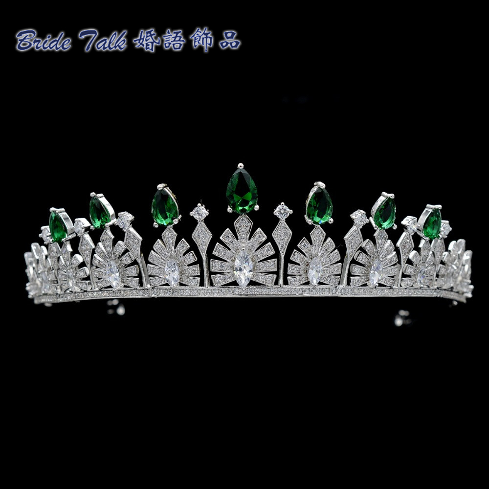 Luxury Wedding Vintage Royal Crown Green AAA CZ Tiara Bridesmaid Bridal Wedding Hair Jewelry Women Crowns TR15038(China (Mainland))