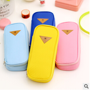 Korean Style Candy Color Brief Canvas Pencil Case Multifunction Stationery Storage Organizer Bag School Supply Escolar Papelaria(China (Mainland))