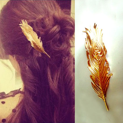 2015 new coming fashion vintage gold metal peacock feather big Hairgrips Hair clip for women accessories Jewelry Pinza de pelo(China (Mainland))