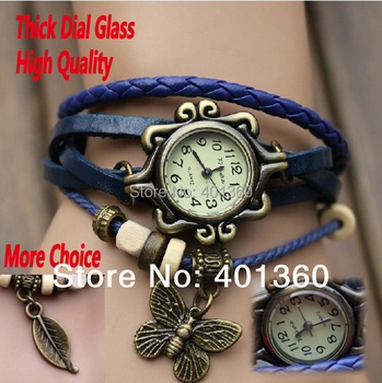 Drop SHIPPING 6Colors Original High Quality Women Genuine Leather Vintage Watch Antique Bracelet Wristwatches Butterfly Leaf