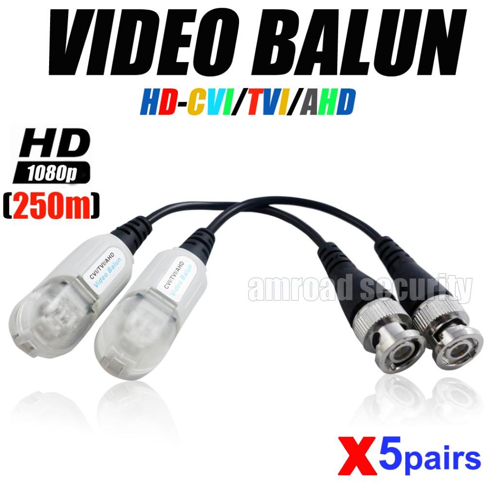 5pairs High Quality HD CVI/TVI/AHD Passive Video Balun HD CCTV Via Twisted Pairs Transmitter Transceiver @1080P Up to 250 Meters(China (Mainland))